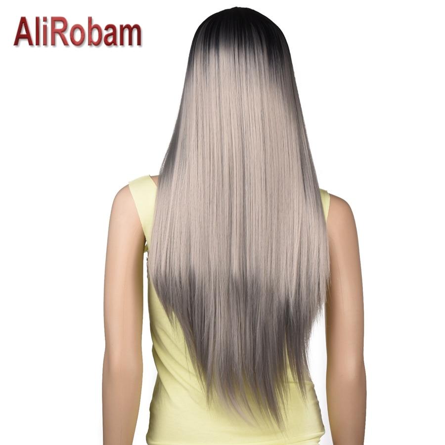 AliRobam шелковистые прямые парики термостойкие синтетические волосы Омбре парики для женщин черный до коричневый розовый серый синий