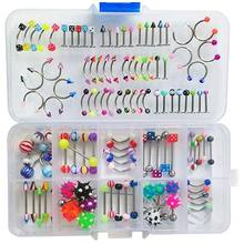 110 PCS/Set Body Jewelry Piercing Eyebrow Navel Belly Tongue Lip Bar Ring Jewerly(China)