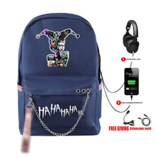 HAHAHA Joker print vogue Backpack Teenager Boy/girl School Bags Waterproof Oxford USB Charger Women/Men Backpack School Bag