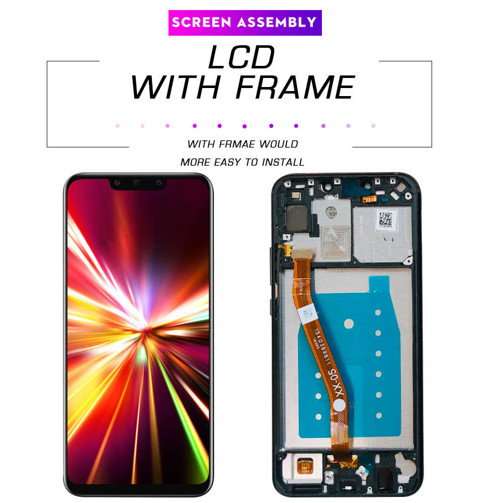 WUJIEXIAN-JXL Touch Screen LCD Screen and Digitizer Wide Assembly with Frame for Huawei Nova 3i Color : Black