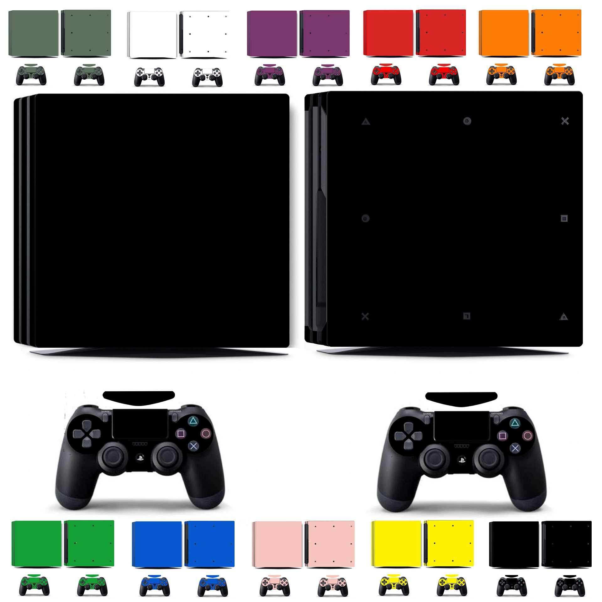 Ten Pure Clean Solid Colors Vinyl Skin Sticker for Sony PS4 PRO PlayStation 4 PRO and 2 controller skins