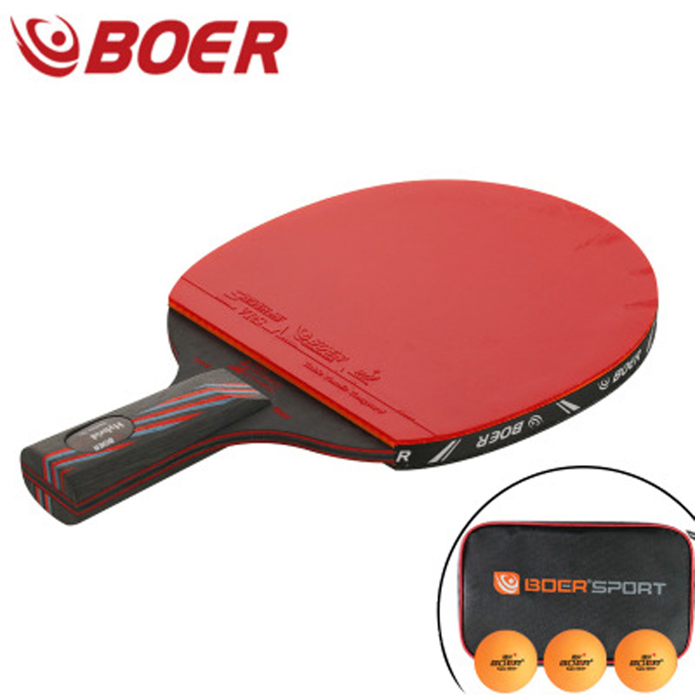 BOER Table Tennis Racket Ping Pong Paddle Cover 3 Ball Set Long/Short Handle Durable And Practical High Quality Raquete