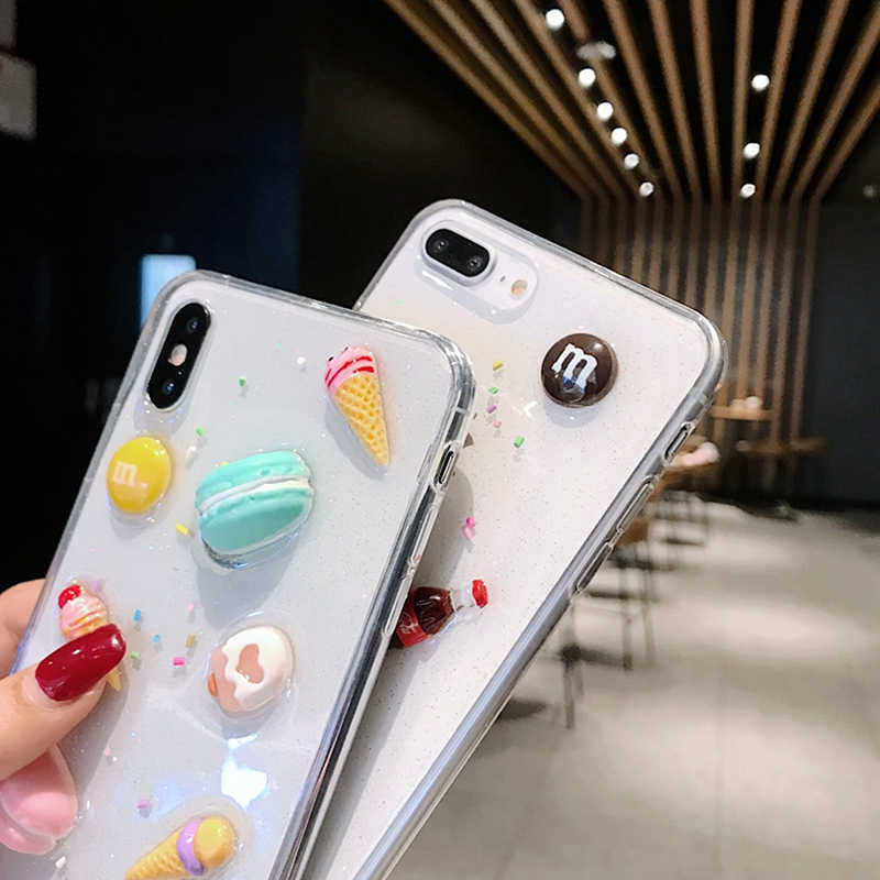 3D Bening Cute Macaron Kue Es Krim Case untuk iPhone X Case XR X MAX 7 8 6Plus Yang Indah transparan Lembut Silicone Glitter Cover