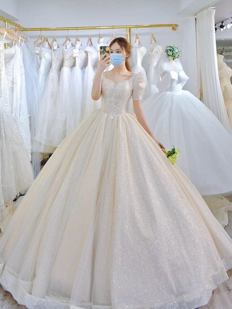 Light Simple Wedding Dress 2021 New Princess Bride Dress Shiny Ball Gown...
