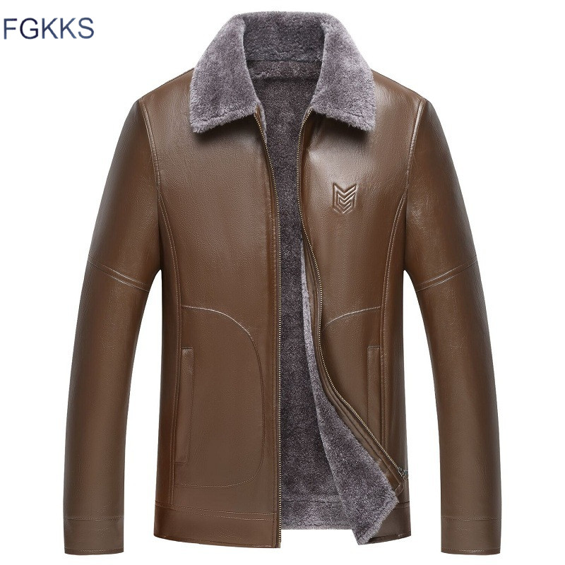 FGKKS Winter Brand Men's PU Leather Jackets Men Fashion Wild Leather Coat Male Comfortable Locomotive Faux Leather Jacket