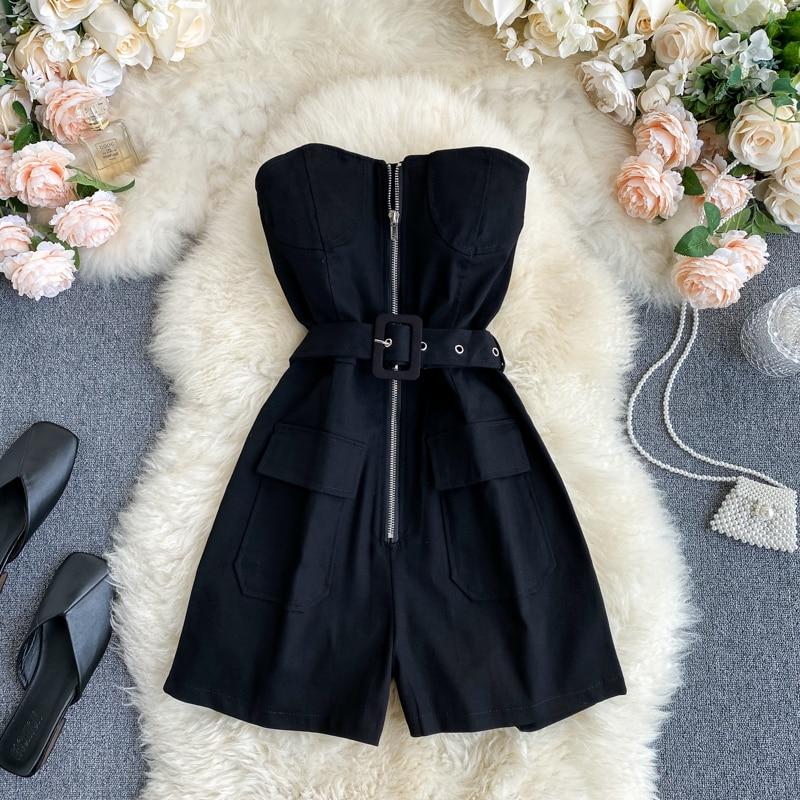 Женские винтажные Свободные Комбинезоны FMFSSOM, винтажные свободные шорты на молнии с поясом без бретелек на лето и весну 2020|Комбинезоны c шортами|   | АлиЭкспресс - Шорты и брюки и костюмы