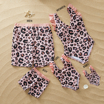 family swimwear leopard swimsuit mother daughter bath suits dad son swim shorts mommy daddy and me matching clothes outfits look leopard swimsuits family matching swimwear mother daughter bikini dad son swim trunks mommy and me family outfits look e0200
