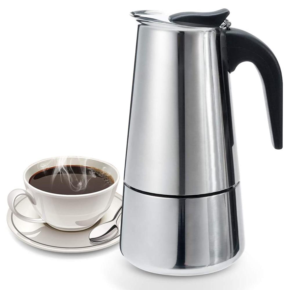 Итальянская Кофеварка Moka Pot из нержавеющей стали Эспрессо портативный латте кофе посуда плита аксессуары для кафе кофейник