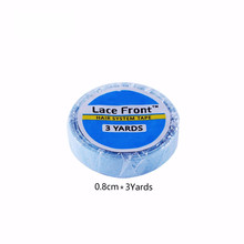 лучшая цена 1 roll 0.8cm*3 yards super hair blue tape double-sided adhesive tape for hair extension/ lace wig/toupee