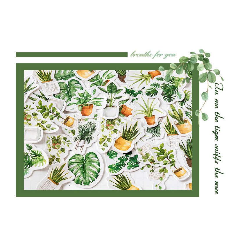 45 unids/caja de oxígeno verde fresco diario de vida papel hecho a mano sellado de etiquetas DIY decoración en forma de selladora Pegatinas