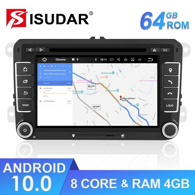 Isudar lecteur multimédia, avec DSP, lecteur DVD, avec GPS, pour VW/Volkswagen POLO, Golf, Skoda, Octavia, Seat Leon, Android 10, 2 Din