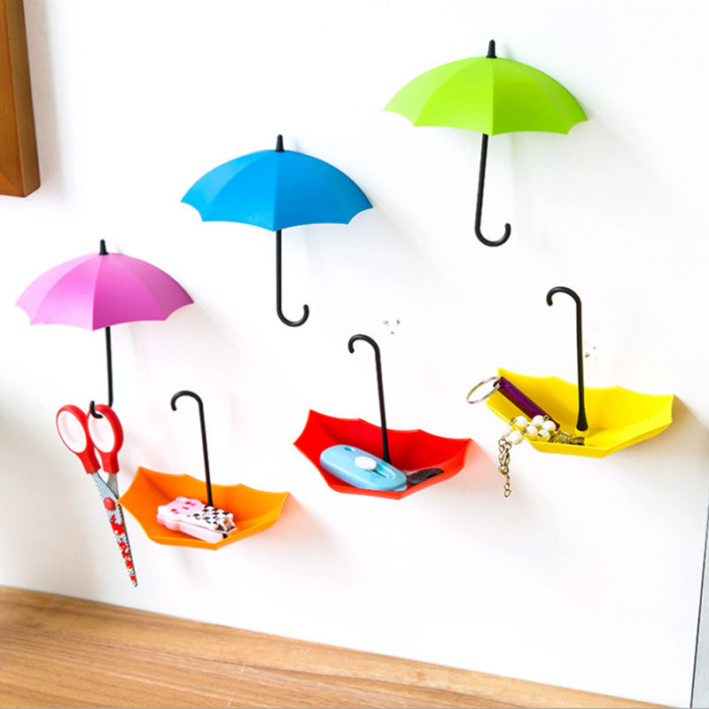 6pcs/set Umbrella Hook Self Adhesive Hook Wall Door Clothing Hanger Keys Sundry Hanging Hooks Bathroom Kitchen Sticky Holder