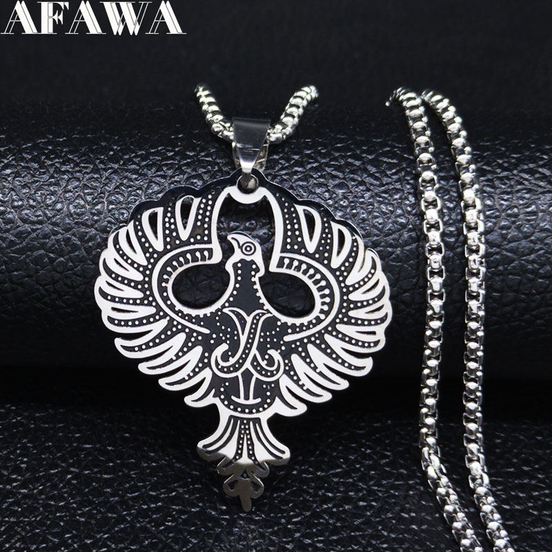 2020 Eagle Stainless Steel Statement Necklace Viking Scandinavian Norse Necklace Chain Men Jewelry cadenas para hombre N20136