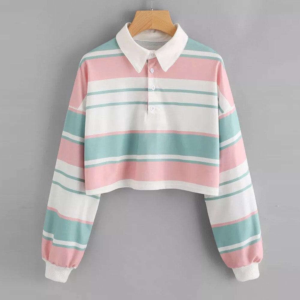 Harajuku Camisola Mulheres Top Listrado Colheita Hoodies Streetwear Outono 2019 Mulher Roupas Kawaii Coreano Moletom Com Capuz Moletom Feminino