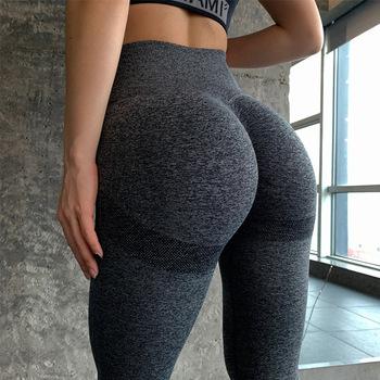 Bezszwowe spodnie jogi kobiet wysokiej zwężone legginsy sportowe kontrola brzucha legginsy bieganie spodnie sportowe tanie i dobre opinie HAIMAITONG CN (pochodzenie) Elastyczny pas POLIESTER WOMEN Dobrze pasuje do rozmiaru wybierz swój normalny rozmiar Yoga