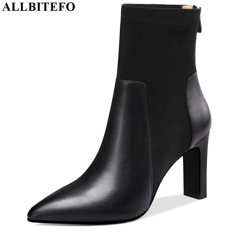 ALLBITEFO High quality genuine leather women boots comfortable 