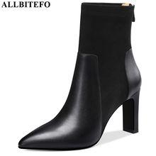 ALLBITEFO wysokiej jakości oryginalne skórzane buty damskie wygodne oddychające kostki buty pointed toe moda buty jesień zima
