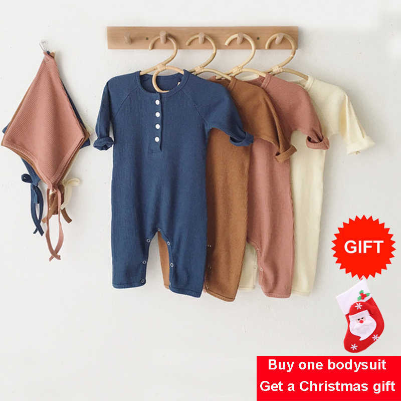 Baby Winter Clothing 0-24M Newborn Girl Boy Rompers Knitted Cotton Long Sleeve Jumpsuit Outfit Clothes Hat For Kids Baby Onesie