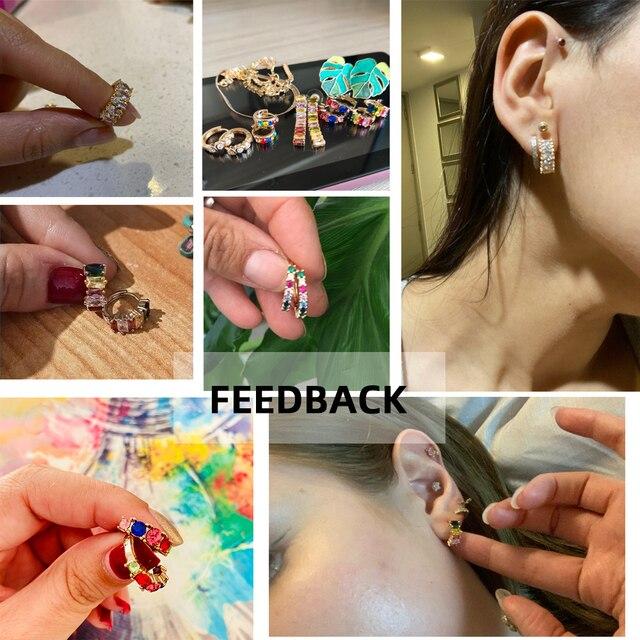 Fashion Colorful Crystal Small Hoop Earrings Clear CZ Geometric Circle Huggie Earrings For Women Jewelry 6
