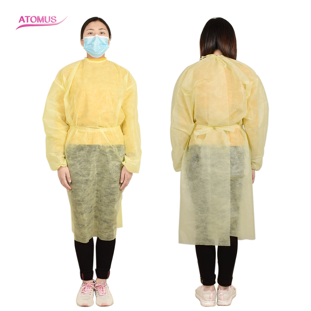 New 1pc Tattoo Disposable Yellow Non-woven Fabric Cloth Protection Clean Laboratory Isolation Cover Gown Surgical Clothes