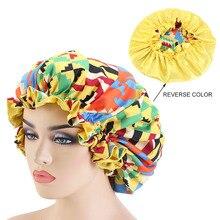 Extra Large Size Hair Caps African Pattern Ankara Satin Bonnet Big Wave Brim Night Sleep Cap Women Flower Turban Chemo Headwear