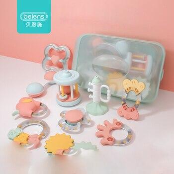 Beiens 6-8 unids/set de sonajero colorido para bebé, juguetes Montessori para dentición, niños, cuna educativa, móviles, sonajeros para bebé