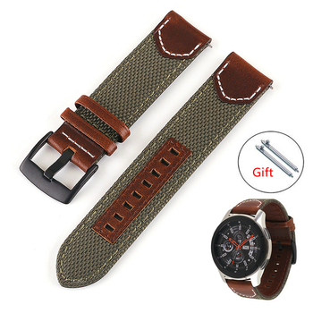 20mm 22mm 24mm Nylon Leather Strap Watchband for Samsung Galaxy Watch 42mm 46mm Active 2 Gear S3 S2 Quick Release Bracelet Band laforuta nylon band for samsung galaxy watch active band galaxy 42mm strap classic s2 sport 20mm quick release watch band
