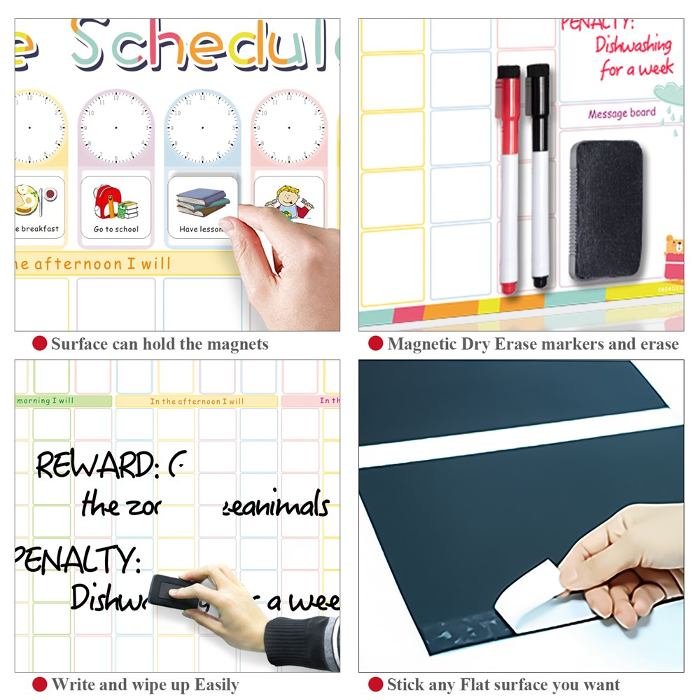 Magnetic Erasable Time Schedule Calendar WhiteBoard Chore Daily Weekly Planner Writing To-Do List Kids Reward Chart Wall Sticker 3