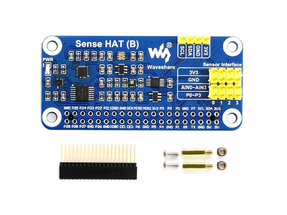 Waveshare  Sense HAT (B) For Raspberry Pi, Onboard Multi Powerful Sensors, Supports External Sensors