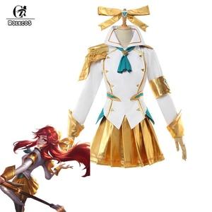 Image 1 - ROLECOS Disfraz de Battle Academia Lux para mujer, LoL Lux, Cosplay, Lux Prestige Edition, traje de mujer, falda de Halloween
