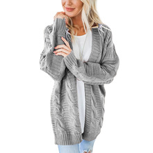 2019 autumn and winter twist cardigan European American style solid color long thick sweater