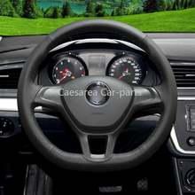Ручные черные кожаные чехлы рулевого колеса автомобиля для volkswagen