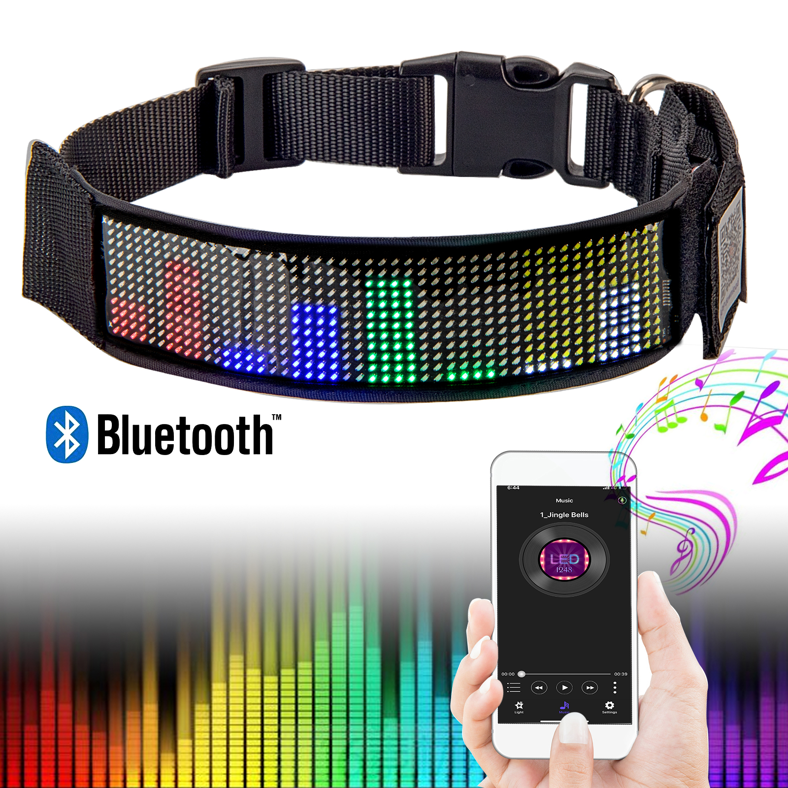 Best Rechargeable LED Dog Collars Programmable Retractable Light Up Glow in the Dark for Hiking and Night Safety