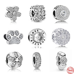 Novo branco pave daisy clip espaçador amor pata diy contas caber pandora encantos originais prata 925 feminino diy fazer jóias acessórios