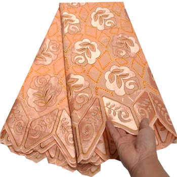 Swiss Voile Lace In Switzerland High Quality Peach African Dry Lace Fabric Beautiful flowers Nigerian Voile Lace 5Yards mv488