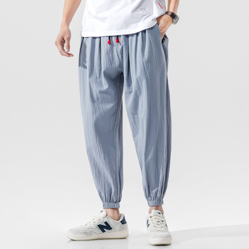 High quality Men Harem Pants Joggers Solid Cotton Linen Baggy Chinese Style Pants Men 2020 Casual Streetwear Trousers