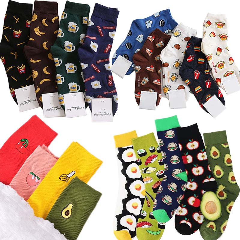 Harajuku happy   socks   men funny Cartoon fruit avocado banana burger fries beer biscuit fried chicken food   socks   skateboard   socks