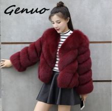 Genuo New 2019 Winter fur coat Korean female short coat large size 4XL faux fur coat short women faux fox fur coat pearl beading textured faux fur coat