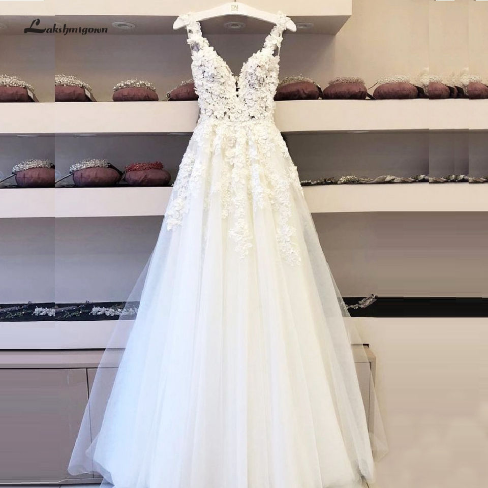 Lakshmigown Vintage Lace Boho Wedding Dress 2020 Vestidos De Boda Deep V Neck Sexy Bridal Dresses Sleeveless Open Back Floor