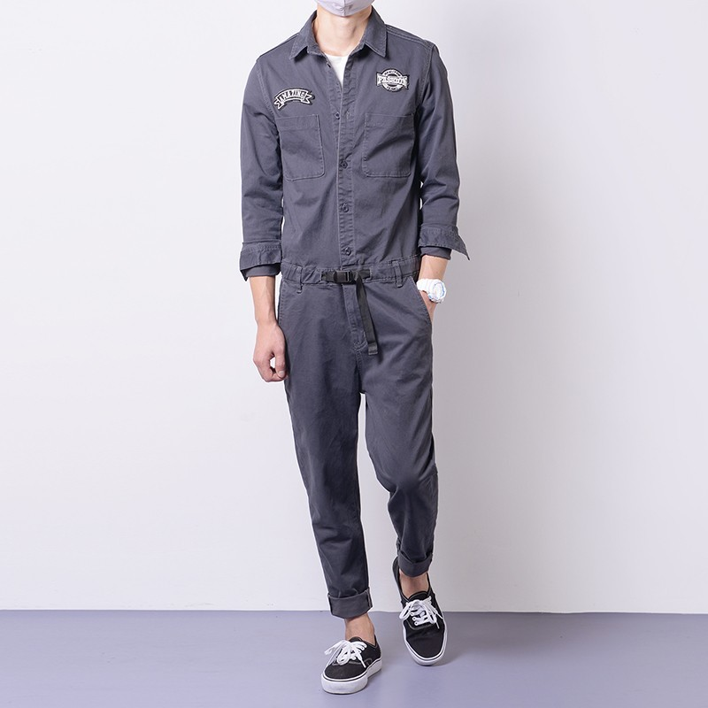 Mens Jumpsuits Cargo Cotton One-Piece Long Sleeve Pants Casual Trousers Clothes Autumn Comfort Loose Rompers Retro Male Overalls