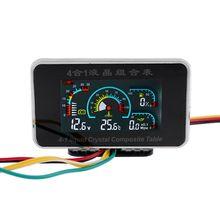 4 in 1 LCD Car Digital ALARM Gauge Voltmeter Oil Pressure Fuel Water Temp 12-24V 19QB