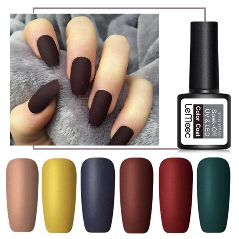 LEMOOC 8ml Nail Art UV Gel Matte Top Coat Nail Polish Semi Permanent Soak Off Gel Varnish Nail Art Gel Paint Lacquer Manicure maudio