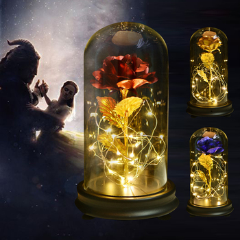 Beauty and The Beast Gold Foil Galaxy Rose Flower LED Light Artificial Flowers In Glass Dome Christmas Valentine Gift for Girls