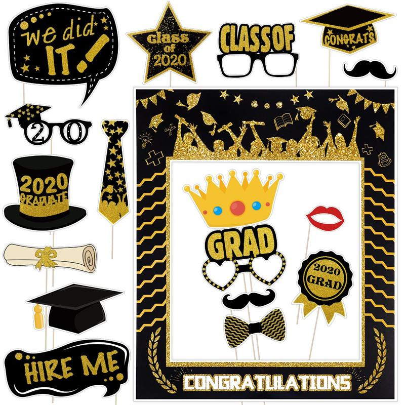 18PCS Glitter Odorless Paper 2020 Graduation Photo Booth Props For Ceremony Party Supplies Photobooth Props For Party Decoration