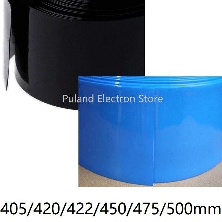 Термоусадочная трубка из ПВХ, ширина 405 420 422 450 475 500 мм, Изолированная пленка для батарей Lipo, защитный чехол, провод, кабель, втулка, черный, синий