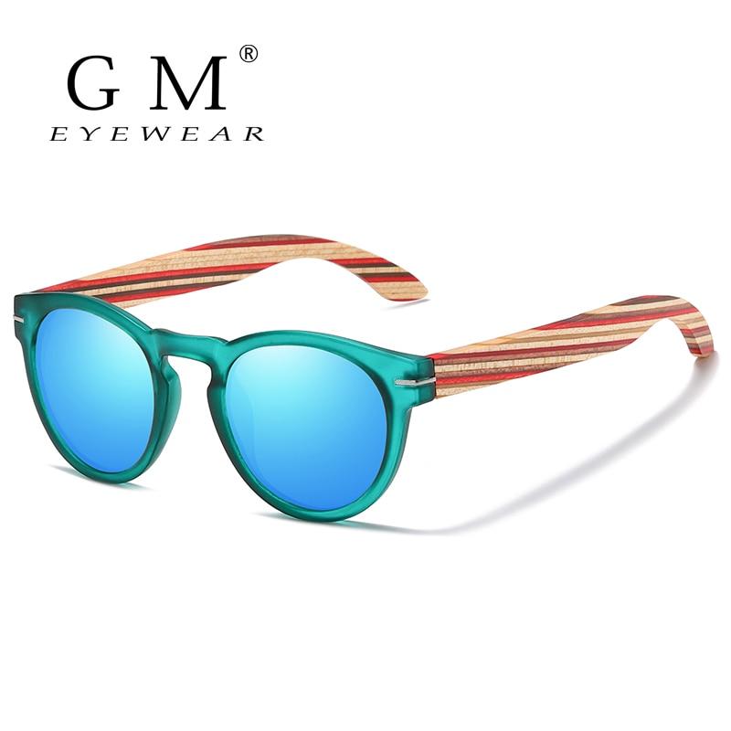 GM Brand Designer Polarized Sunglasses Men Plastic Frame Wood Earpieces Fashion Oval Sun Glasses Mirror Lens UV400 S5092