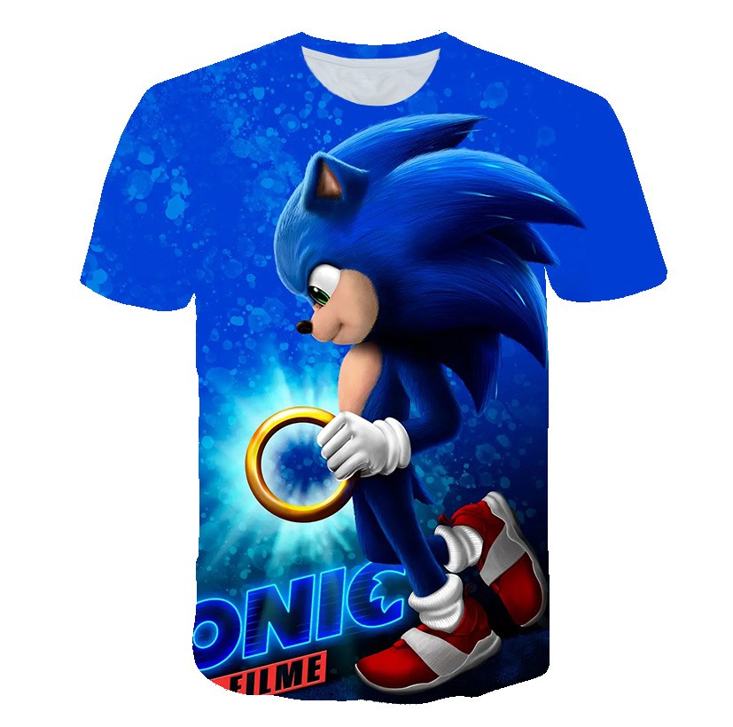 3D Sonic The Hedgehog Girls Clothes Baby Boys Mario Summer Funny T-shirts Boys Clothes Costume Kids Camisetas Casual Street