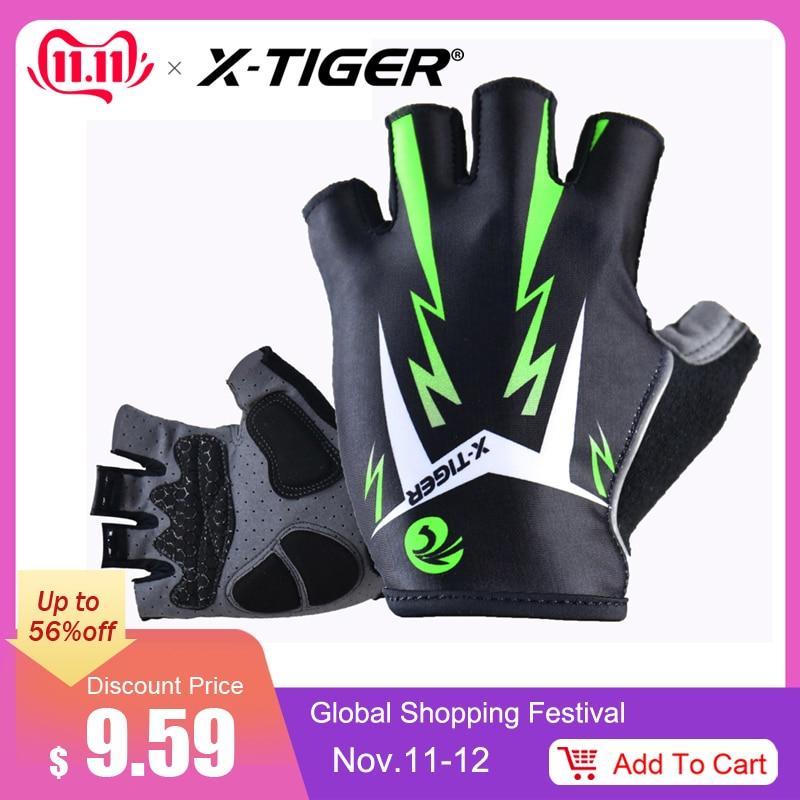 X-Tiger 3D GEL pad fényes zöld sport kesztyű fényvisszaverő fél ujjjal MTB kerékpár kesztyű Kerékpáros kesztyű Hegyi kerékpár kesztyű
