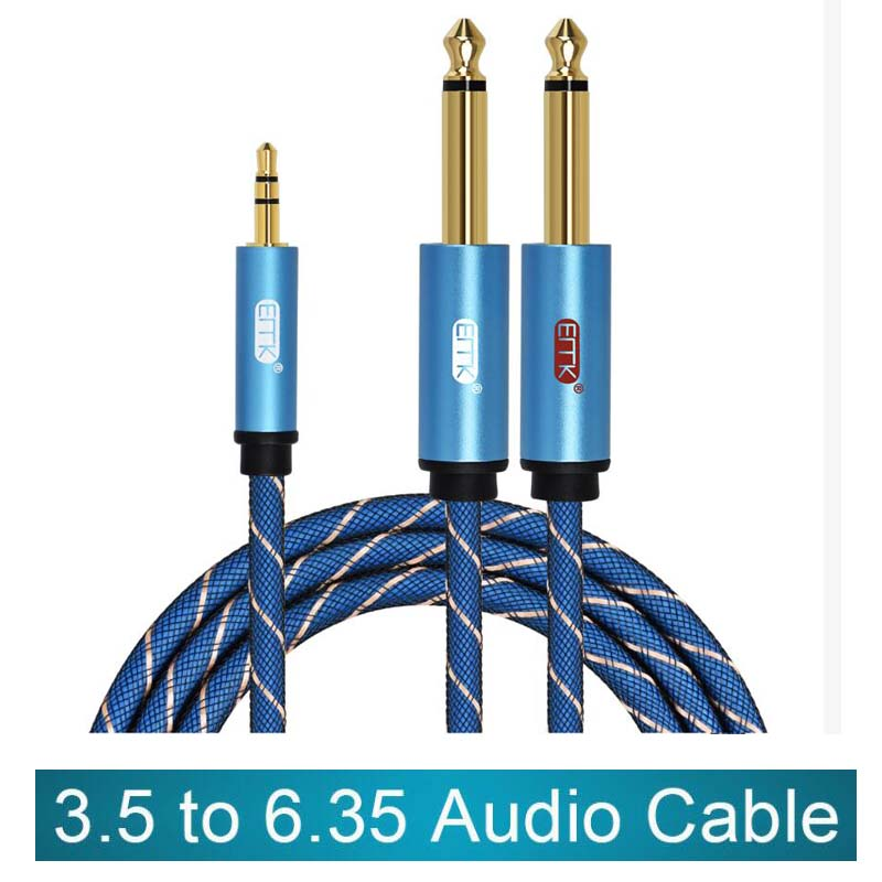 3.5mm <font><b>to</b></font> 2 6.35mm Audio <font><b>Cable</b></font> Stereo Aux <font><b>Cable</b></font> <font><b>3.5</b></font> Male <font><b>to</b></font> Male 6.35 <font><b>6.3</b></font> 6.5 Mono Y Splitter Audio Cord 1m for Phone Amplifier image