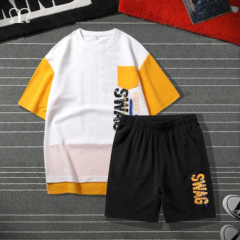 Men's Fashion Tracksuit Casual Brand Clothing Sportsuit Men Shorts Set Sportswear Male Hip Hop Short Sleeve Tee Shirt Shorts